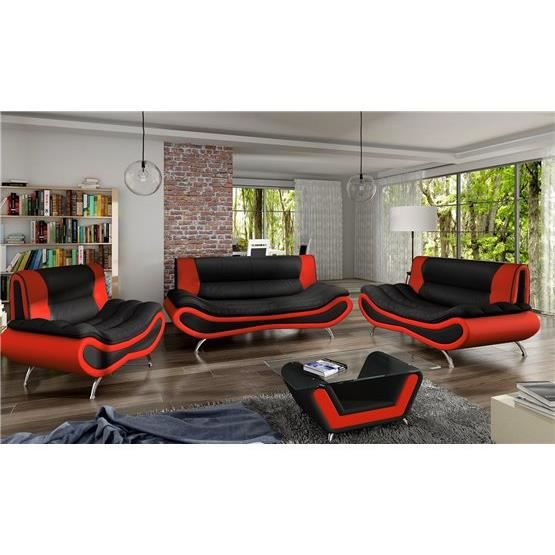 ensemble de canap design 3 2 ori noir et rouge achat vente canap sofa divan cdiscount. Black Bedroom Furniture Sets. Home Design Ideas
