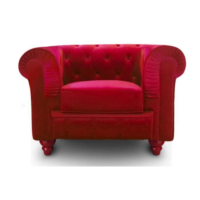 fauteuil chesterfield velours rouge achat vente. Black Bedroom Furniture Sets. Home Design Ideas
