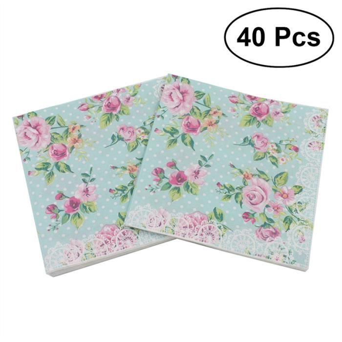 2018 40 Pcs Fleur Dejeuner Serviette Floral Imprime Serviette
