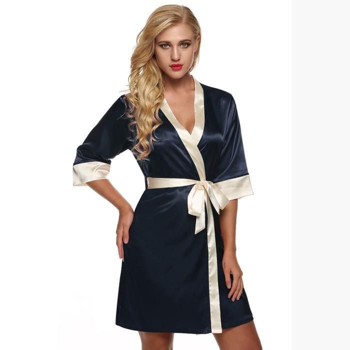 Bleu Marine Satin Femmes Pyjama Taille L en UK 12//14 NEUF