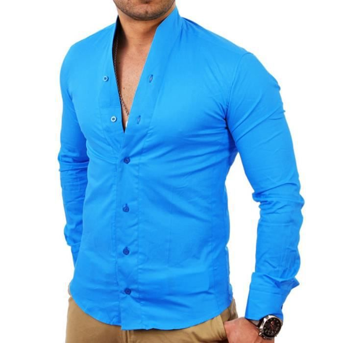 chemise col mao pour homme chemise 9005 bleu turquoise. Black Bedroom Furniture Sets. Home Design Ideas