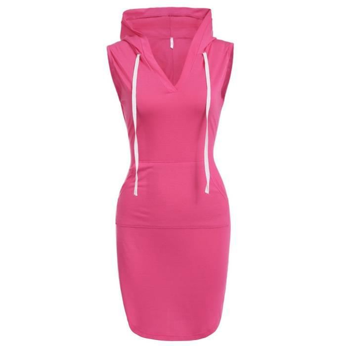 Sans Hooded capuche solide Sexy robe occasionnelle Mini manches à w0WtOYq