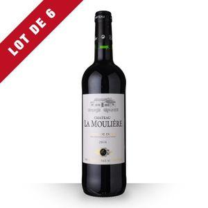 VIN ROUGE 6X Château la Moulière 2014 Rouge 75cl AOC Côtes d