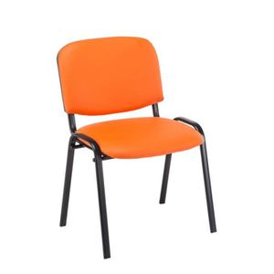 CHAISE DE BUREAU Chaise visiteur assise rembourrée en PU orange BUR