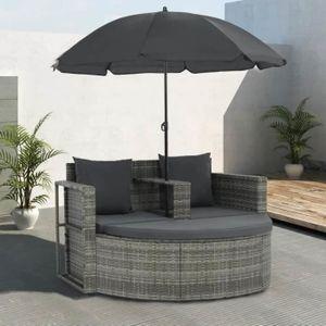 Ensemble table et chaise de jardin Canapé de jardin avec coussins et parasol Gris Rés
