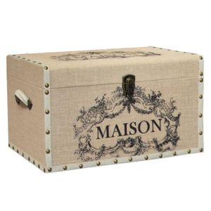 COFFRE - MALLE Malle Coffre en Bois Toile Jute de Rangement 40x26