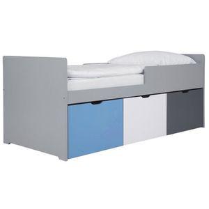STRUCTURE DE LIT Miliboo - Lit enfant à tiroirs 90x190 cm bleu, bla