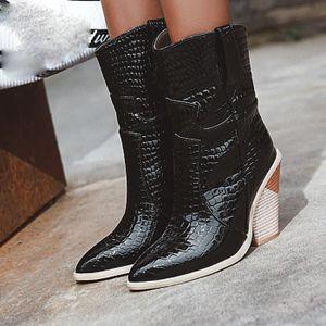 bout femmes la Chaussures en compensées cheville cowboy cuir à de Noir pour modebottines pointu à DYeH9bE2IW