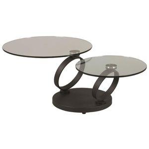 TABLE BASSE Table basse avec 2 plateaux en acier coloris anthr