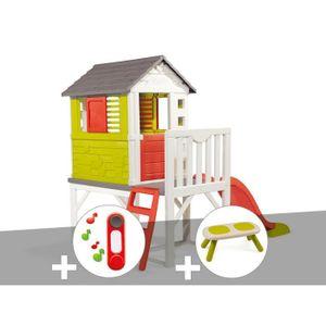 MAISONNETTE EXTÉRIEURE Cabane enfant Pilotis - Smoby + Sonnette + Banc 26