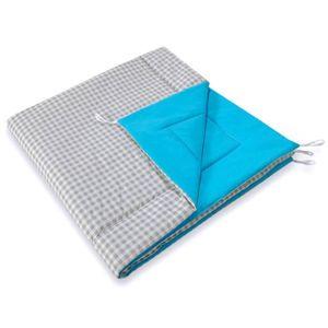 TAPIS DE JEU Tapis matelassé turquoise carreaux gris pour Tipi