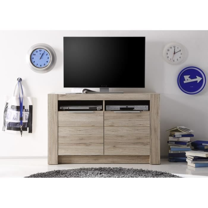 cougar meuble tv 113cm d cor ch ne naturel achat vente meuble tv cougar meuble tv haut. Black Bedroom Furniture Sets. Home Design Ideas