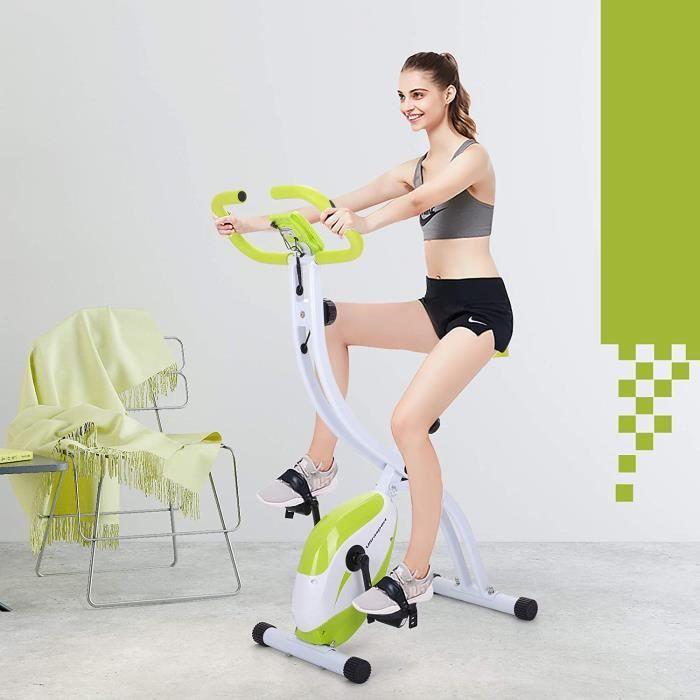 Vélo d'exercice, ordinateur d'entraînement et application, adulte mixte pliable