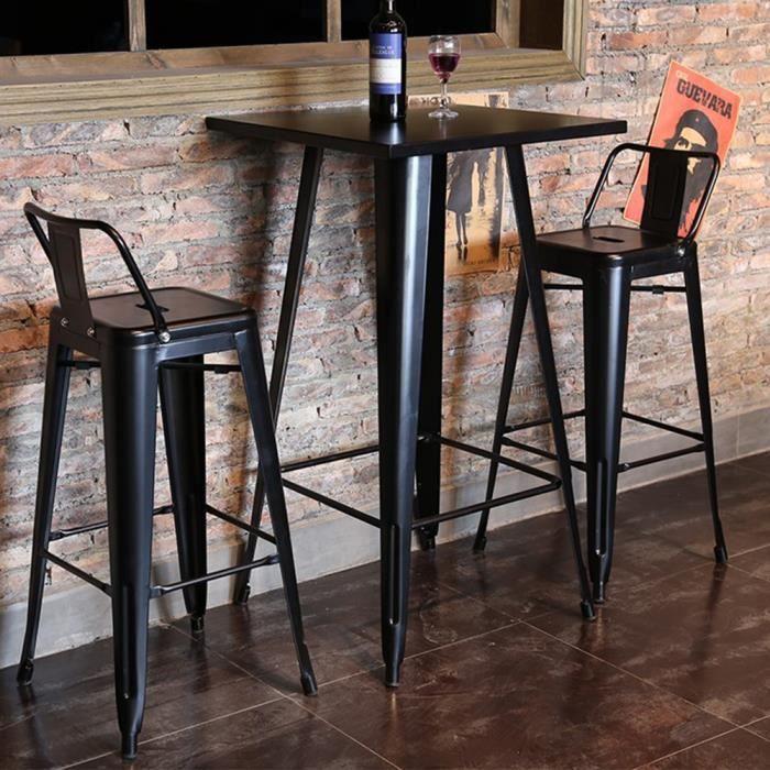 HEK Table Haute Industriel de Bar Table Bistrot Carré Mange-Debout avec Plateau en Bois Pin 60 x 60 x 103 cm