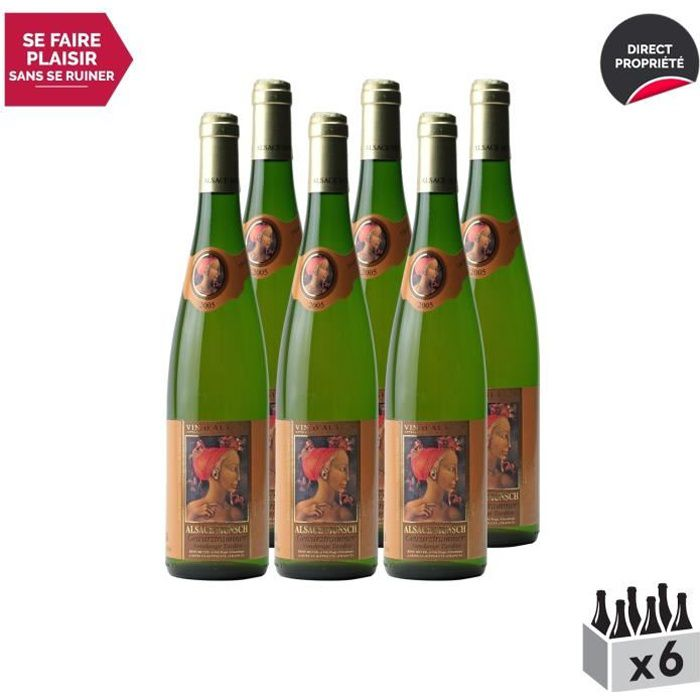 Alsace Gewurztraminer Vendanges Tardives Blanc 2005 - Lot de 6x75cl - Alsace Munsch - Vin AOC Blanc d' Alsace - Cépage