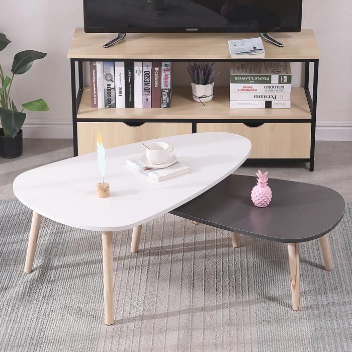 Lot de 2 tables basses gigognes scandinave laquées PM gris GM blanc