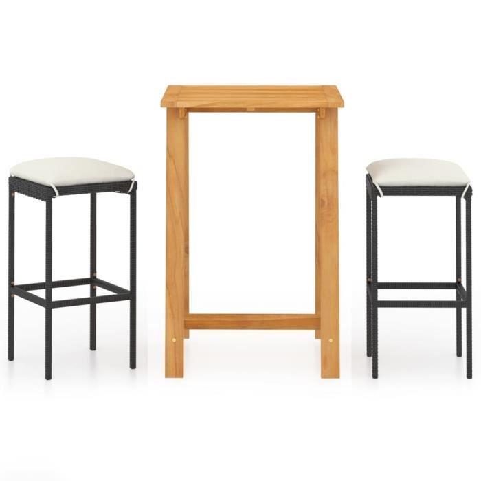Joli•6151Ensemble de bar de jardin 3 pcs • 1 Table de bar avec 2 chaises de bar Salon de jardin professionnel - Noir