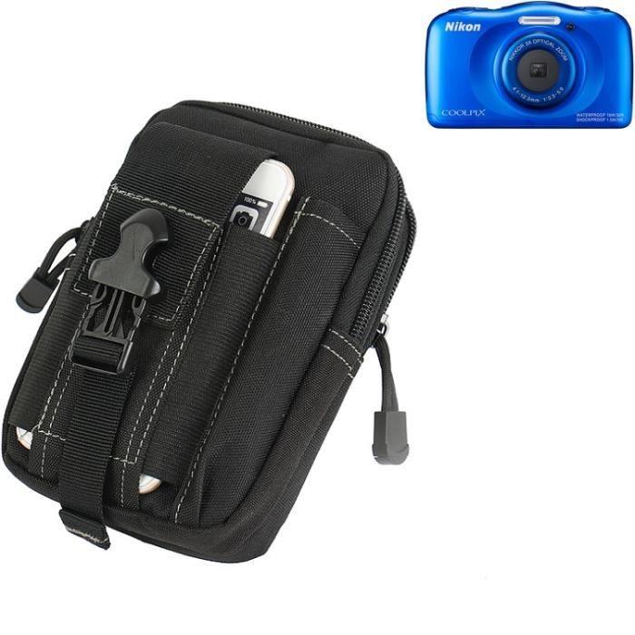 Pour Nikon Coolpix S33 Sacoche Ceinture Pochette Étui Caméra digital numérique Sac portable Housse pour Nikon Coolpix S33 noir
