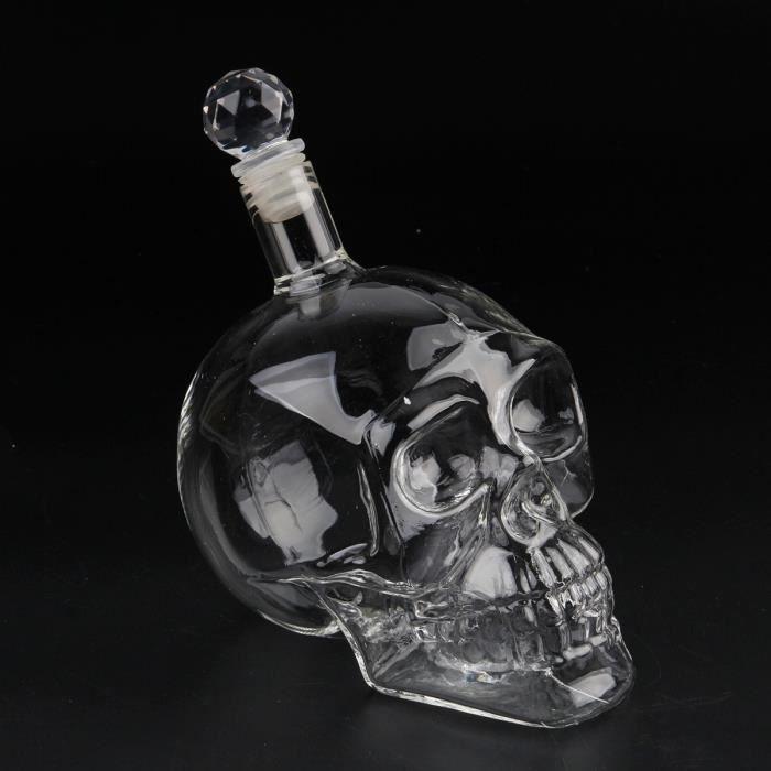 Package E 1000ml -Carafe en verre avec tête de crâne, bouteille de thé, de whisky, de vin