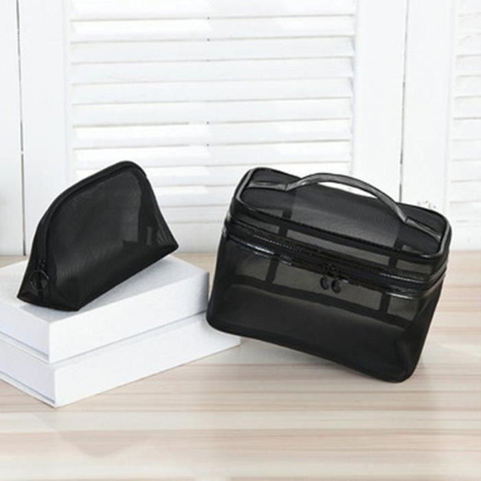 Trousse de toilette noire de grande capacité pour femmes, sac de lavage en maille, rangement Portable à fermeture éclair*CC17460
