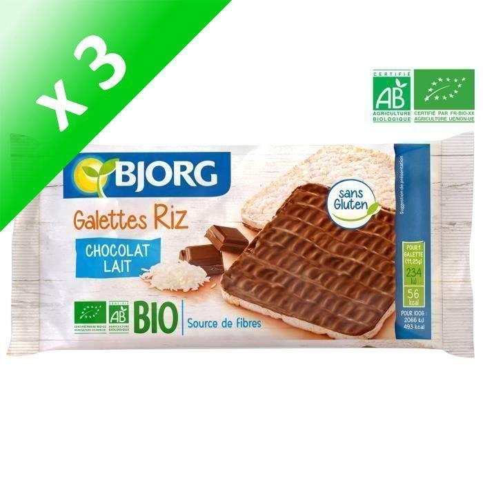[LOT DE 3] BJORG Fines Galettes de Riz Chocolat Lait Bio 90g