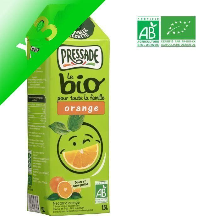 PRESSADE Nectar d'orange bio - 1,5 l (Lot de 3)