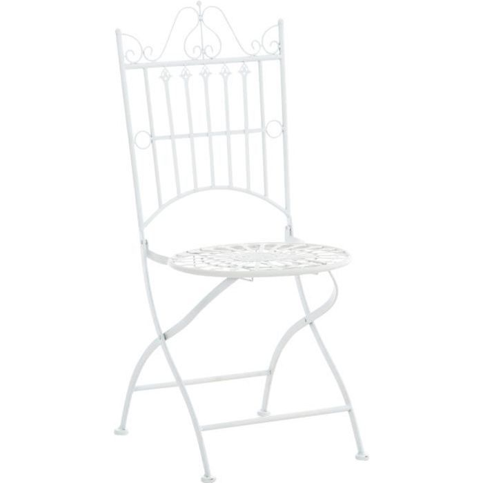 Chaise de Jardin Pliante Sadao en Fer forgé avec Hauteur d'Assise 44 cm [Blanc]