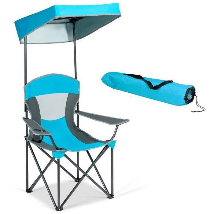DREAMADE Fauteuil de Camping Pliant avec Pare-Soleil, Chaise d'Extérieur Pliable avec Porte-Gobelet&Sac,pour Jardin,Piscine