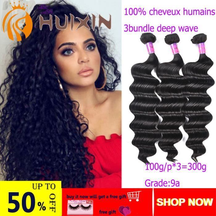 3 tissage bresilien boucle 7A cheveux naturel humain curly vrais meches 16+18+20pouces 100g/p