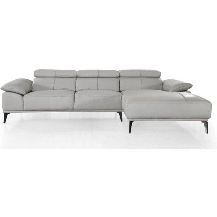 Canapé d'angle droit en cuir VICTOIRE - Gris - Droit - Gris