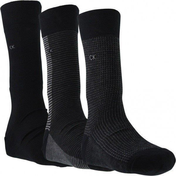 CALVIN KLEIN Coffret 3 paires de chaussettes Homme Coton MOTIF Noir
