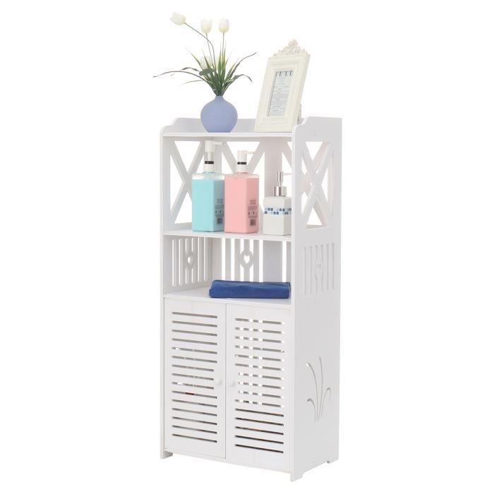 NEUFU Armoire de Rangement Meuble Toilette Etagère de rangement Classique de Salle de Bain en Bois Blanc TYPE A