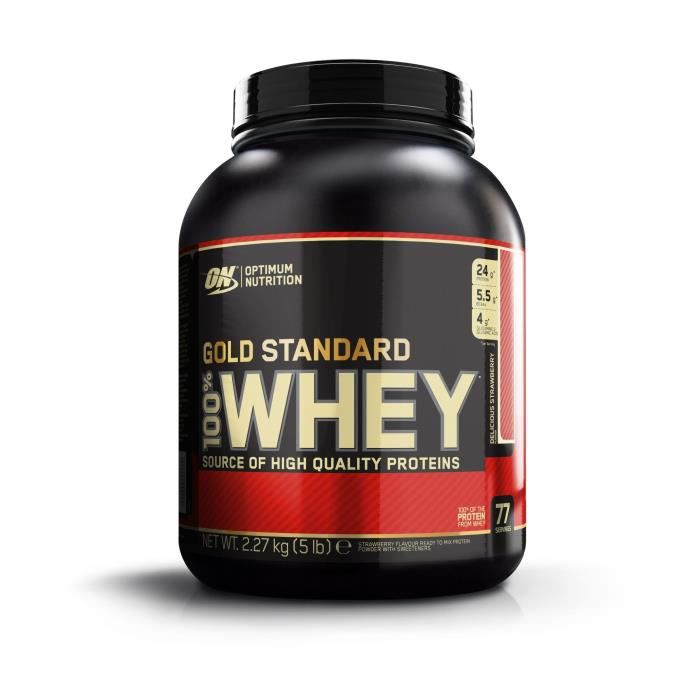 OPTIMUM NUTRITION Pot 100% Whey Gold Standard Fraise - 2,27 kg