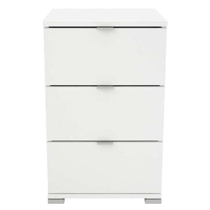 Chevet - table de nuit coloris blanc mat - 39,8 x 63,2 x 41,9 cm