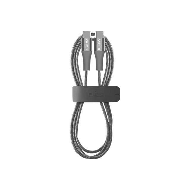 Puro Fabric Cable with Magic Clip Câble USB USB-C (M) reversible pour USB-C (M) reversible USB 2.0 1 m gris