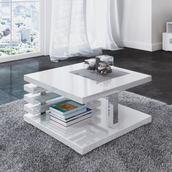 Table basse design - ARIENE - 60x60 cm - blanc brillant - étagère pratique sous le plateau