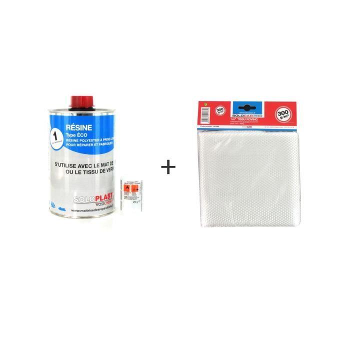 Pack résine polyester type Eco Soloplast 1 Kg - Tissu de verre Soloplast Roving 300g/m2