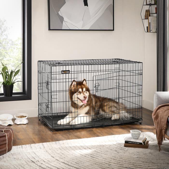 FEANDREA XXXL Cage pour Chien 122 x 76 x 81 cm 2 Portes Pliable et Transportable avec Poignées et Plateau Noir PPD48H