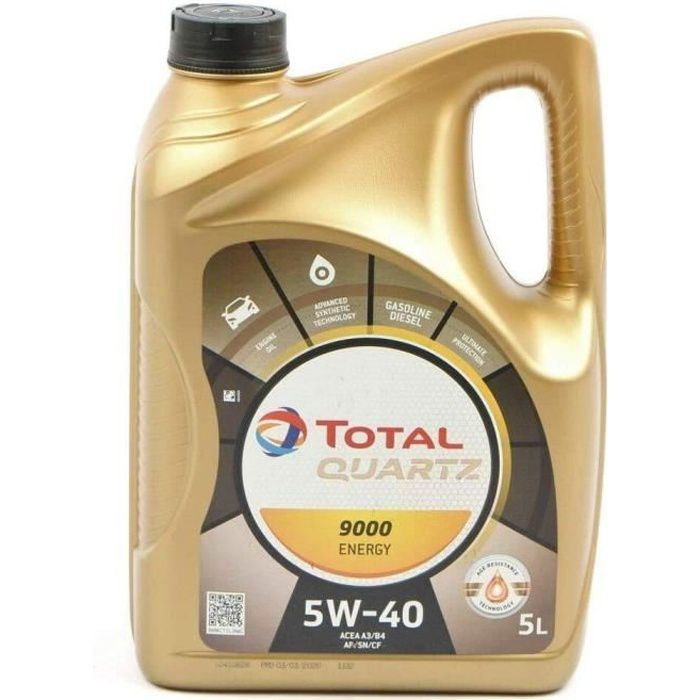 Huile Total Synthese 5w40 Quartz Energy 9000 5 litres