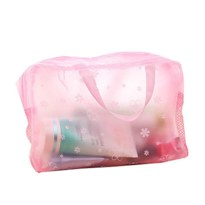 1 Pinceaux de maquillage Sac de rangement transparente de douche Trousse de toilette avec poignée pour cosmétique rose rose 24@M4871