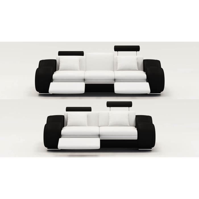 ensemble canap relax 3 2 places en cuir blanc et noir. Black Bedroom Furniture Sets. Home Design Ideas