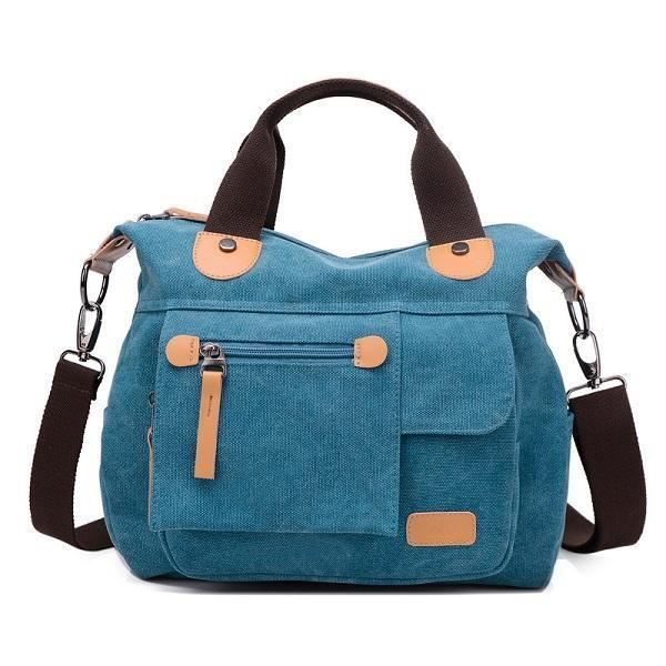 SBBKO2849Women Toile Casual Grande capacité fonctionnelle Multi Pocket Handbag Shoulder Bag Crossbody Bag Bleu