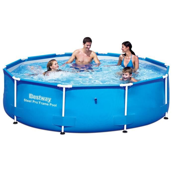 Piscines piscine gonflable ronde bestway steel pro avec for Piscine gonflable ronde