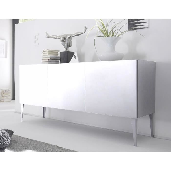 buffet bahut gris ou blanc laqu mat legos 2 blanc achat. Black Bedroom Furniture Sets. Home Design Ideas
