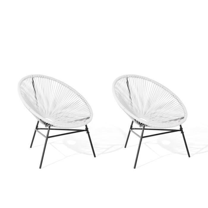 FAUTEUIL JARDIN  Lot de 2 chaises de jardin blanche Acapulco