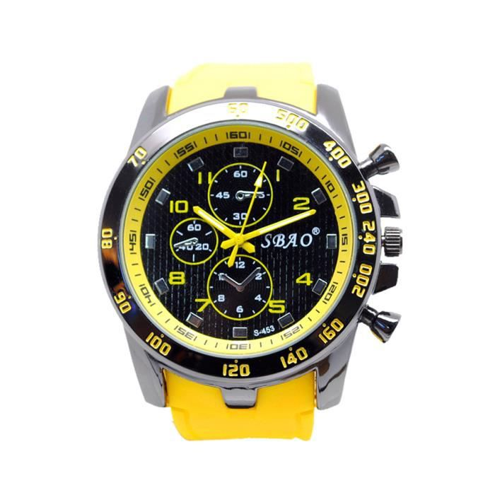 luxe homme montre sport casual quartz analogique montres jaune achat vente montre luxe. Black Bedroom Furniture Sets. Home Design Ideas