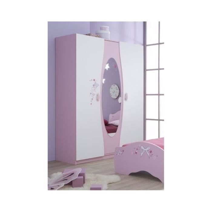 armoire blanche rose 3 portes miroir papillon achat. Black Bedroom Furniture Sets. Home Design Ideas