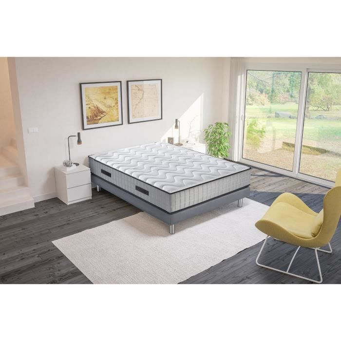 ensemble sommier matelas 180x200 ressorts ensaches achat. Black Bedroom Furniture Sets. Home Design Ideas