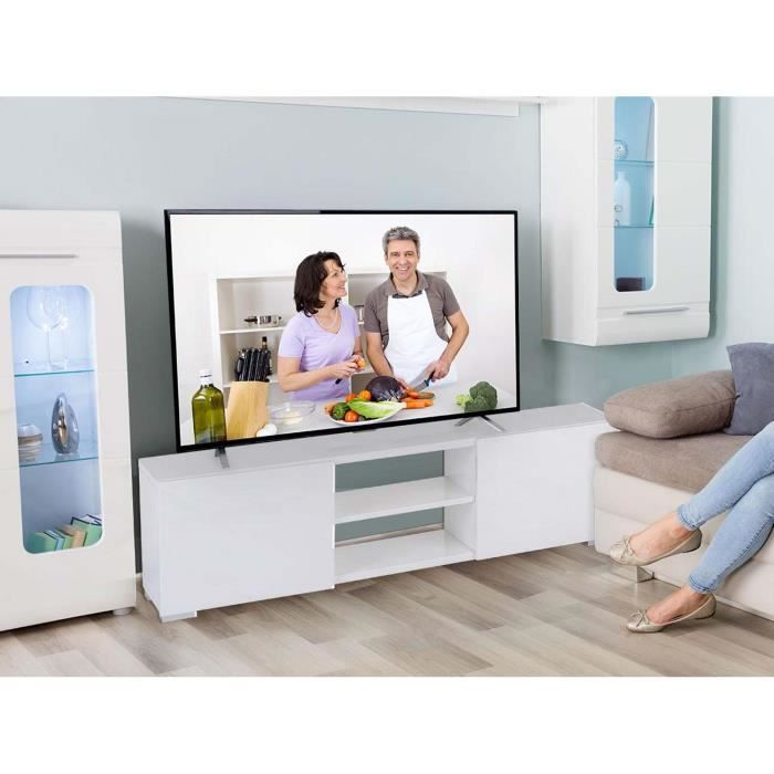 meuble tv frida en mdf laqu blanc 2 niches et 2 portes achat vente meuble tv meuble tv. Black Bedroom Furniture Sets. Home Design Ideas