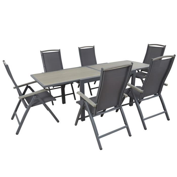 salon de jardin table extensible et 8 fauteuils aluminium achat vente sal. Black Bedroom Furniture Sets. Home Design Ideas